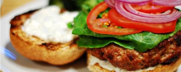 Lamb Burger w/ Yogurt & Feta Sauce