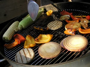 Grilled Onions, Peppers, Corn, and Squash